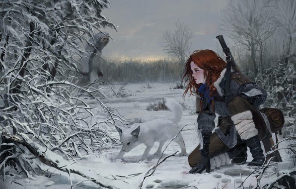 Картинка Небо, Природа, Зима, Девушка, Собака, Деревья, Снег, Лес, Следы, Ветки, Girl, Оружие, Nature, Sky, Dog, ...