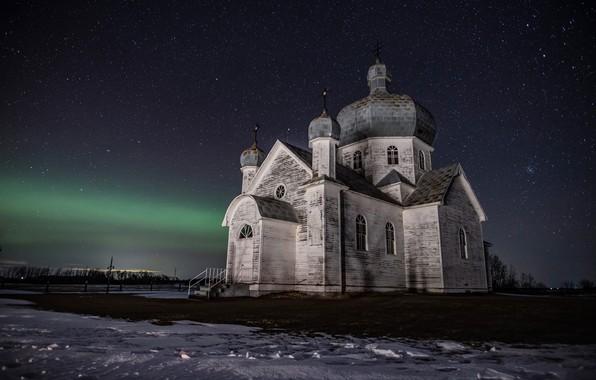 Картинка Night, Church, Forgotten, Saskatchewan