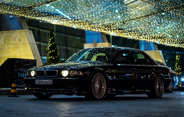 Картинка BMW, City, Light, Night, Alpina, E38, Kazakhstan, Almaty, 740Li