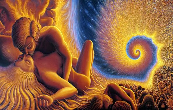 Картинка colors, colorful, abstract, girl, love, animals, woman, man, kiss, boy, mood, couple, rendering, feeling, kissing, …