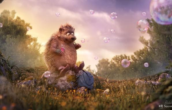"""Картинка лес, лето, пузыри, мыльные пузыри, полянка, ёжик, детская, rico cilliers, Occupation: """"Dreamer"""""""