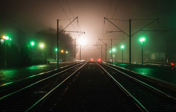 Фото обои фонари, ночь, красивый, вечер, огни, размытость, выдержка, город, световые следы, дома, полосы свет, движение, свет, ...