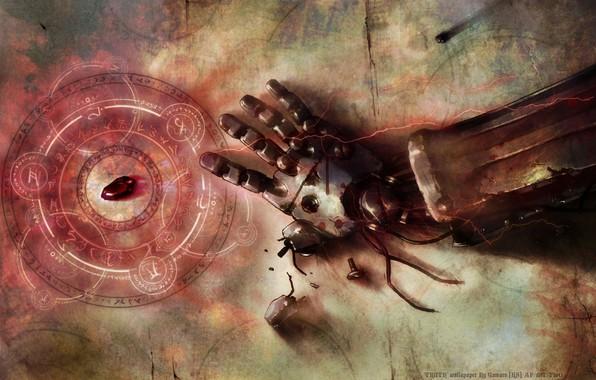 Картинка fullmetal alchemist, stone, anime, art, hand, broken, rust, transmutational circle, automail, philosopher stone