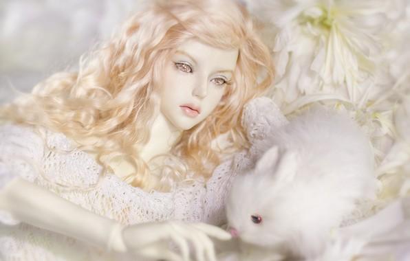 Картинка девушка, игрушка, кукла, кролик