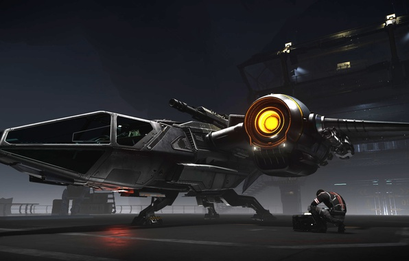 Картинка станция, пилот, звездолет, Star Citizen, Drake Buccaneer