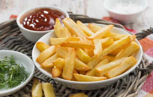 Картинка соус, кетчуп, картошка, картофель фри, сковорода
