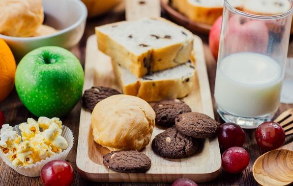 Картинка молоко, печенье, фрукты, выпечка, кекс