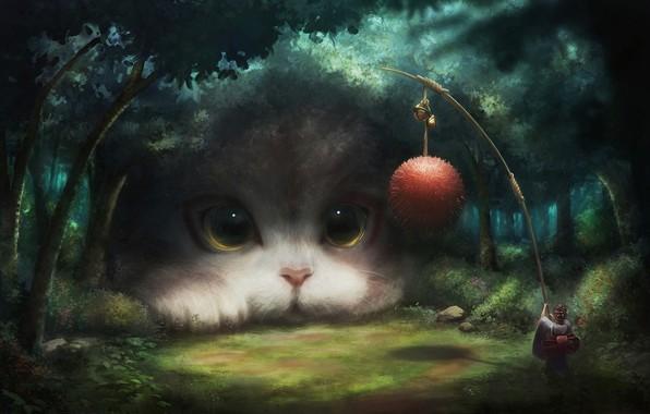 Картинка girl, fantasy, game, forest, eyes, Cat, clear, animal, ball, digital art, artwork, situation, fantasy art, …