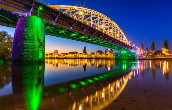 Картинка ночь, мост, огни, Нидерланды, голландия, посветка, Арнем, John Frost Brücke