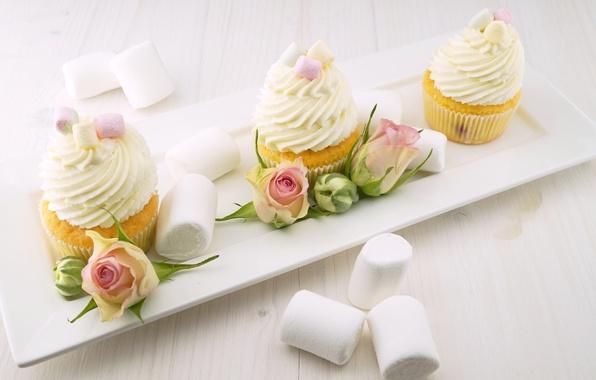 Картинка еда, розы, тарелка, бутоны, крем, выпечка, сладкое, кексы, маршмеллоу
