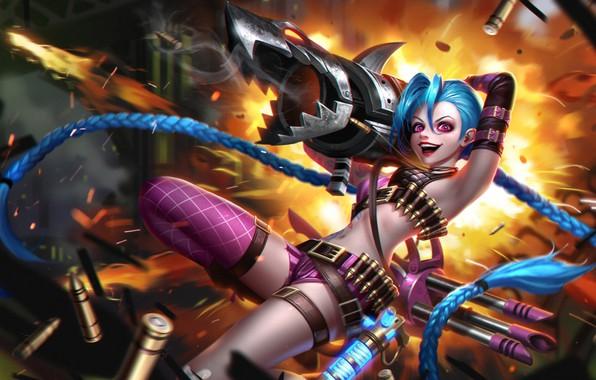 Картинка девушка, улыбка, волосы, арт, базука, League of Legends, jinx, loose cannon