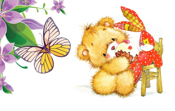 Картинка настроение, день рождения, праздник, подарок, бабочка, игрушка, малыш, арт, пирожное, зайчик, стульчик, детская, кексик