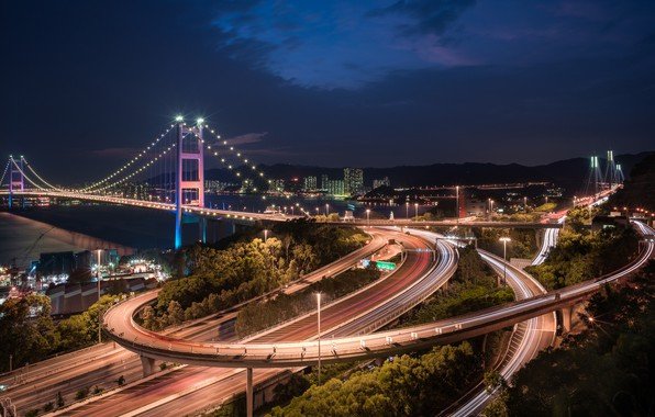 Картинка мост, China, дороги, Гонконг, Китай, ночной город, Hong Kong, Tsing Ma Bridge, Мост Цинма, Канал ...