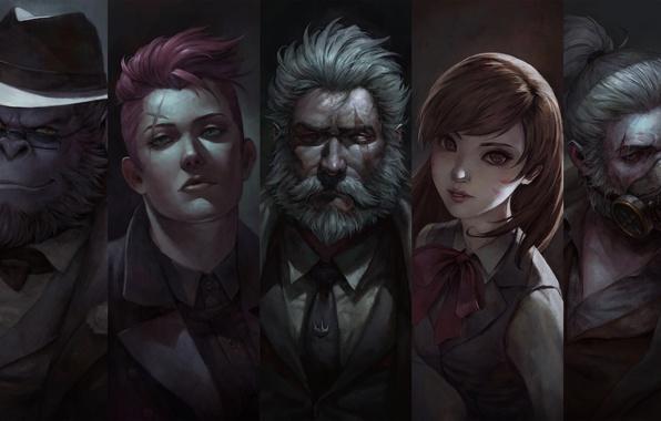 Картинка Game, Blizzard Entertainment, Overwatch, Reinhardt, Winston, D.Va, Roadhog, Zarya