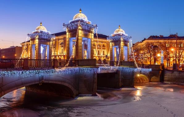 Картинка зима, свет, снег, деревья, ночь, мост, огни, река, дома, лёд, Санкт-Петербург, гирлянда, лампочки, Lomonosov Bridge, …