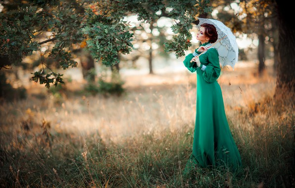 Картинка девушка, стиль, ретро, зонтик, дерево, настроение, платье, дуб, Александра, Ольга Бойко