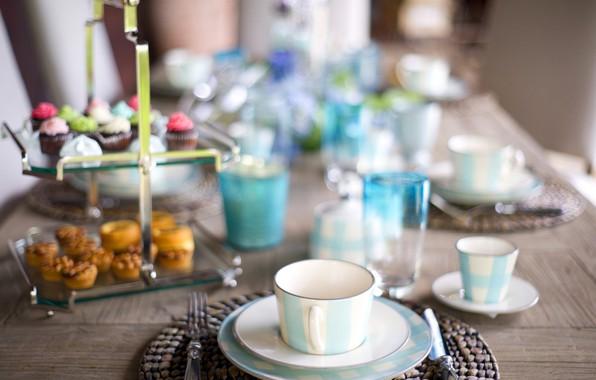Картинка стол, завтрак, посуда, сервировка