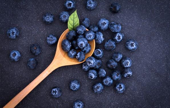 Картинка ягоды, черника, ложка, fresh, spoon, blueberry, голубика, berries