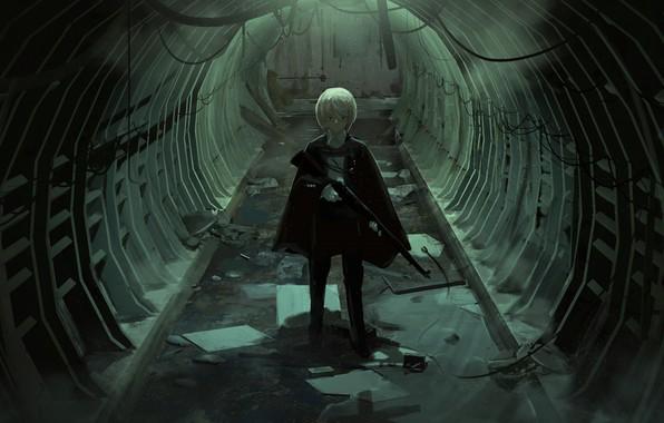 Картинка оружие, аниме, арт, тоннель, парень, faiz azhar