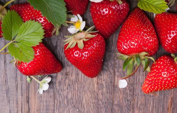 Картинка цветы, клубника, ягода, спелая, сочная