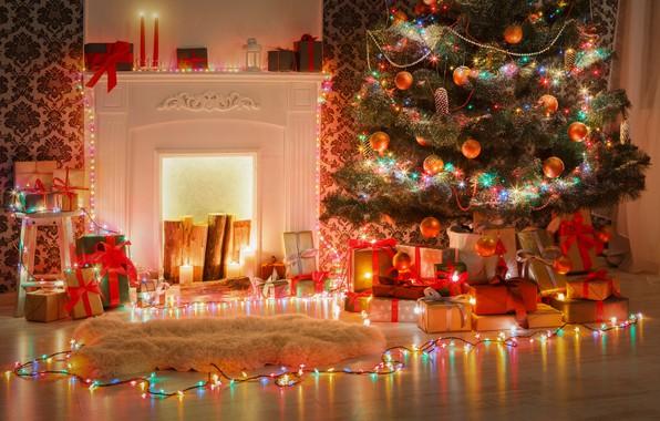 Картинка украшения, игрушки, елка, Новый Год, Рождество, подарки, камин, Christmas, design, Merry Christmas, Xmas, interior, home, …