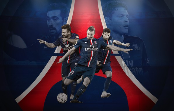 Картинка wallpaper, sport, logo, football, Paris Saint-Germain, players