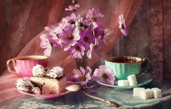 Картинка цветы, чашки, ткань, сахар, натюрморт, столик, вуаль, блюдце, пирожные, скатерть, still life, космея, Анастасия Соловьёва, …