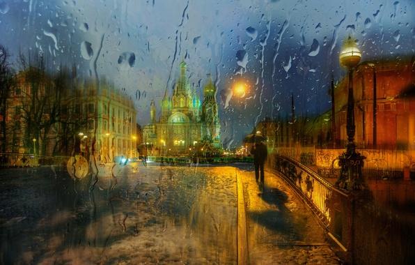 Картинка стекло, капли, город, дождь, Санкт Петербург