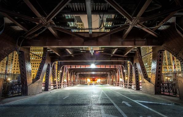 Фото обои Wells Street, мост, опора, Чикаго США