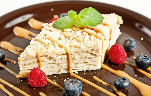 Картинка ягоды, малина, торт, мята, голубика, наполеон