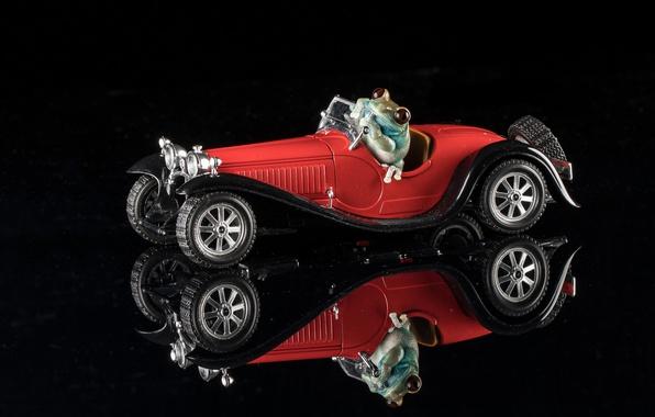 Картинка отражение, лягушка, машинка, чёрный фон, моделька, 1932 Bugatti