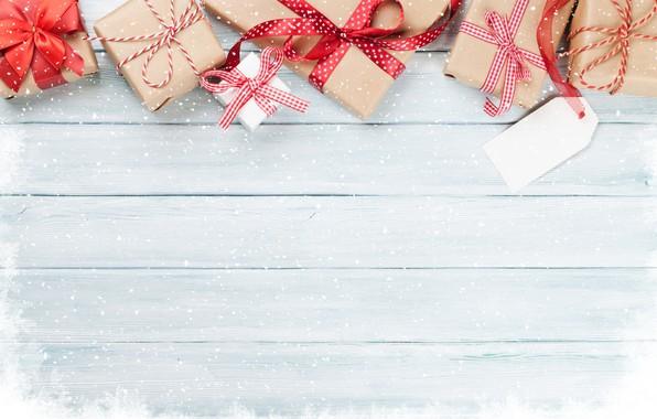 Картинка снег, фон, праздник, доски, рождество, подарки, Новый год, Merry Christmas, New year