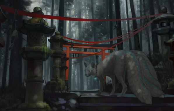 Картинка Япония, фонари, ступени, девятихвостый, art, красная лента, демон-лис, fox demon, таинственный лес, ворота тории, Aivoree