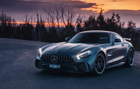 Фото обои закат, AMG, суперкар, GT R, 2018, Mercedes-Benz, вечер