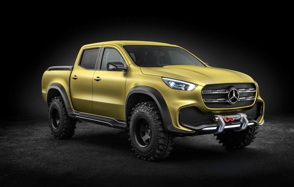 Фото обои Mercedes, концепт кар, внедорожник, Concept, 8k, Икс класс, X Class, пикап, Pickup
