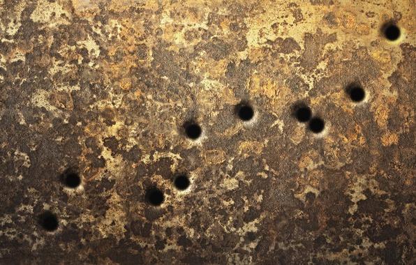 Картинка поверхность, металл, стена, текстура, царапины, wallpaper., сквозные отверстия, пистолет-пулемет очередь
