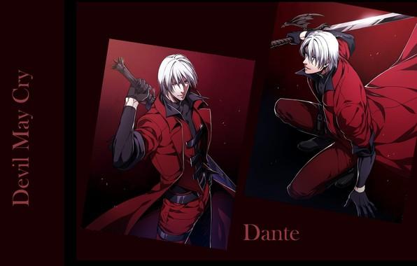 Картинка меч, парень, убийца, Dante, седой, красный плащ, крутой, Devil May Cry, в темноте, Дьявол может …