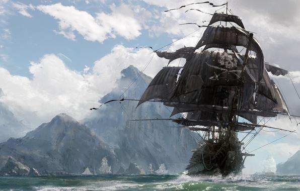 Картинка skull, sword, game, pirate, island, ken, pirate ship, blade, ship, evil, kaizoku, Skull and Bones