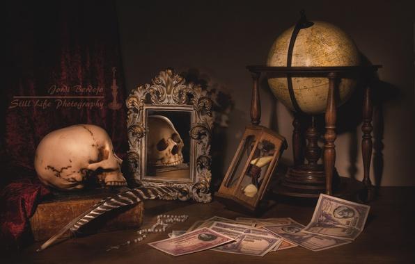 Картинка перо, часы, книги, череп, деньги, зеркало, натюрморт, глобус