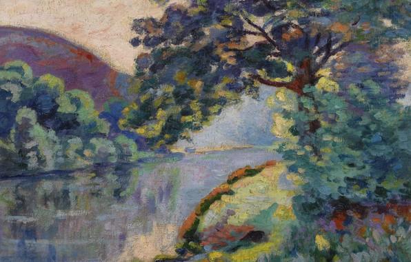 Картинка пейзаж, река, дерево, картина, Арман Гийомен, Armand Guillaumin, The Echo Rock