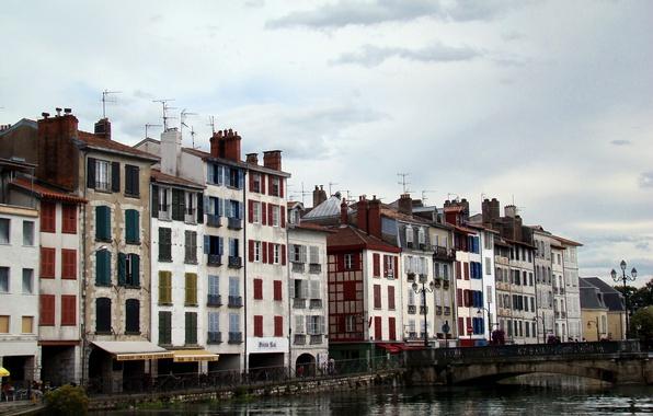Картинка Франция, Дома, Канал, Здания, Bridge, France, Мостик, Buildings, Canal, Bayonne, Байонна