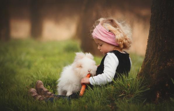 Картинка трава, природа, дерево, животное, кролик, девочка, ствол, морковь, ребёнок