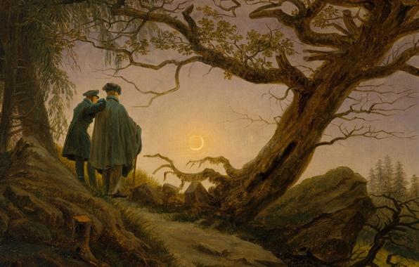 Картинка пейзаж, дерево, картина, Каспар Давид Фридрих, Двое Мужчин Созерцающих Луну