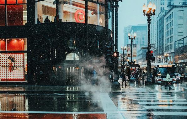 Картинка зима, мокро, снег, город, огни, люди, улица, вечер, Чикаго, пар, США, улицы