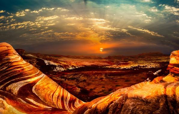 Картинка небо, солнце, облака, пейзаж, закат, горы, тучи, природа, скалы, пустыня, жара, даль, засуха, США, Америка, …