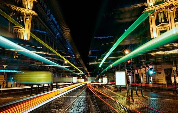 Картинка город, улица, выдержка, размытость, ночной, боке, wallpaper., feel of speed, скорость линии, огни полосы, дорога …