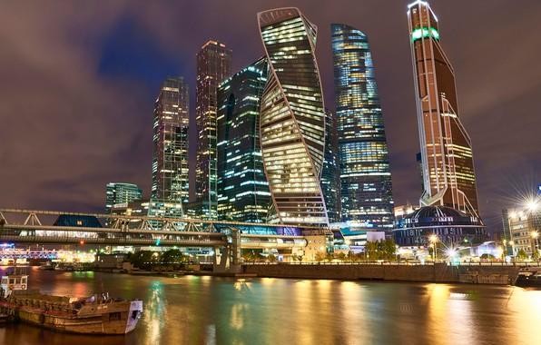 Картинка мост, река, здания, Москва, Россия, ночной город, небоскрёбы, Москва-Сити, Москва-река, Пресненская набережная