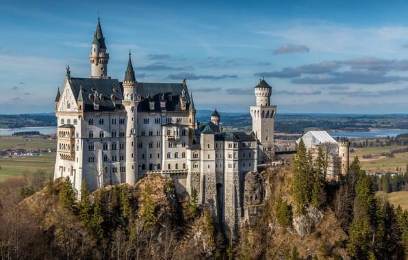 Картинка город, Германия, Germany, Bavaria, Замок Нойшванштайн