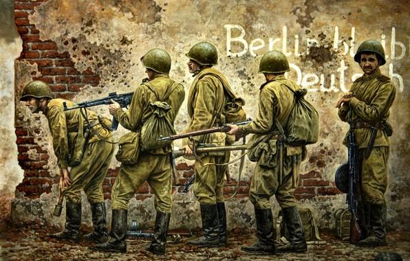Картинка солдаты, Великая Отечественная война, Винтовка Мосина, Вторая Мировая война, Красная Армия, Советские, ДП-27, StG-44