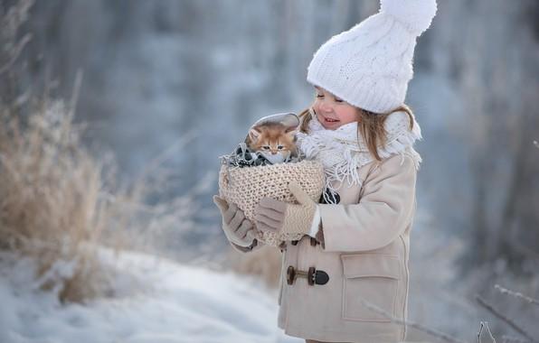 Картинка зима, снег, счастье, котенок, девочка